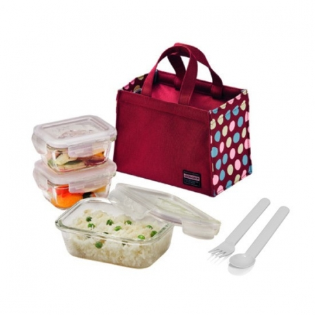 Microwavable Kids Glass Bento Lunch Box Set Spoon Fork Red