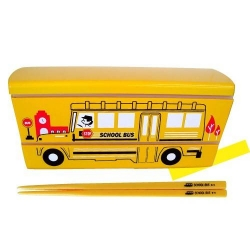 Japanese Microwave Safe 2-tier Slim Bento Box with Chopsticks School Bus