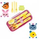Portable Bento Fork Spoon Chopsticks and Case 4 in 1 Pink
