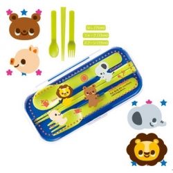 Portable Bento Fork Spoon Chopsticks and Case 4 in 1 Boy
