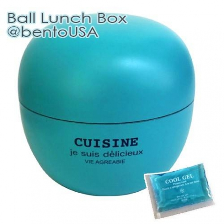 Round Lacquer Bento Box 2 tier with Cold Gel Pack Cute Ball