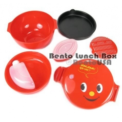 Round Lacquer Kids Bento Box 2 tier Deluxe Red