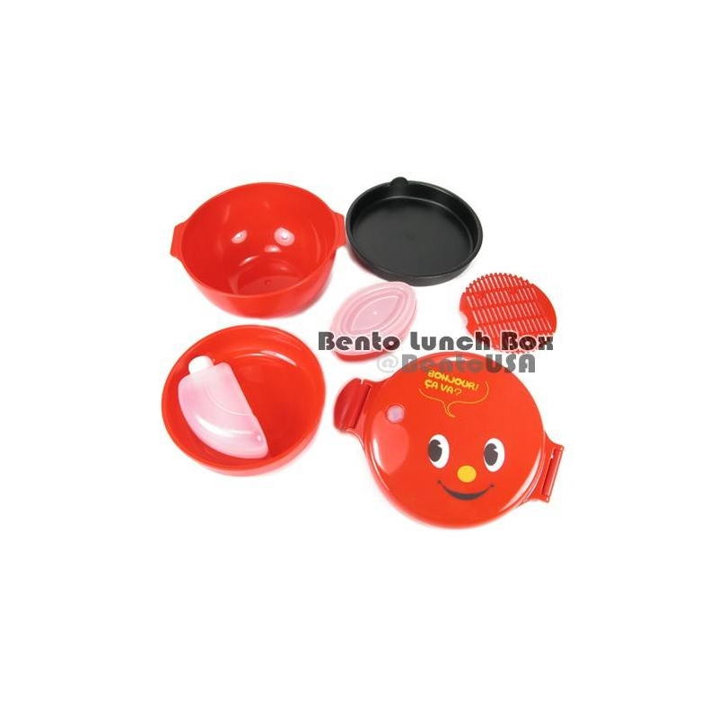 Details about Round Lacquer Kids Bento Box 2 tier Deluxe Red