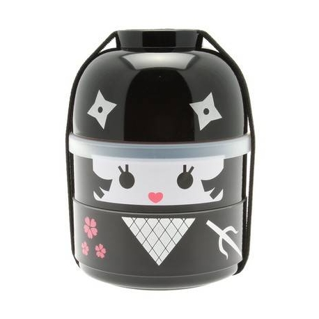 Japanese Bento Box 2 tier Lunch Box Kokeshi Set Ninja Girl