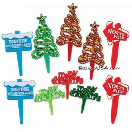 Food Decorating Pick Merry Xmas Message North Pole Winter Wonderland