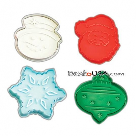 Bento Pastry Cookie Cutter and Stamp set of 4 L Xmas