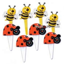 Food Decorating Pick Puffy Ladybug Bee