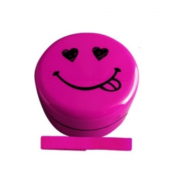 Microwavable Kids Bento Box Smiley Lunch Box with Strap Pink