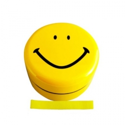Microwavable Kids Bento Box Smiley Lunch Box with Strap Yellow