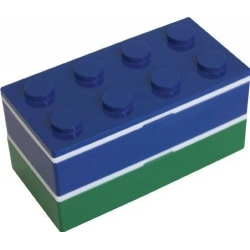 Lacquer Block Bento Lunch Box 2 tier with Chopsticks and Cold Gel Blue Green