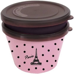 Japanese Microwave Safe 2-tier Paris Bento Box Pink