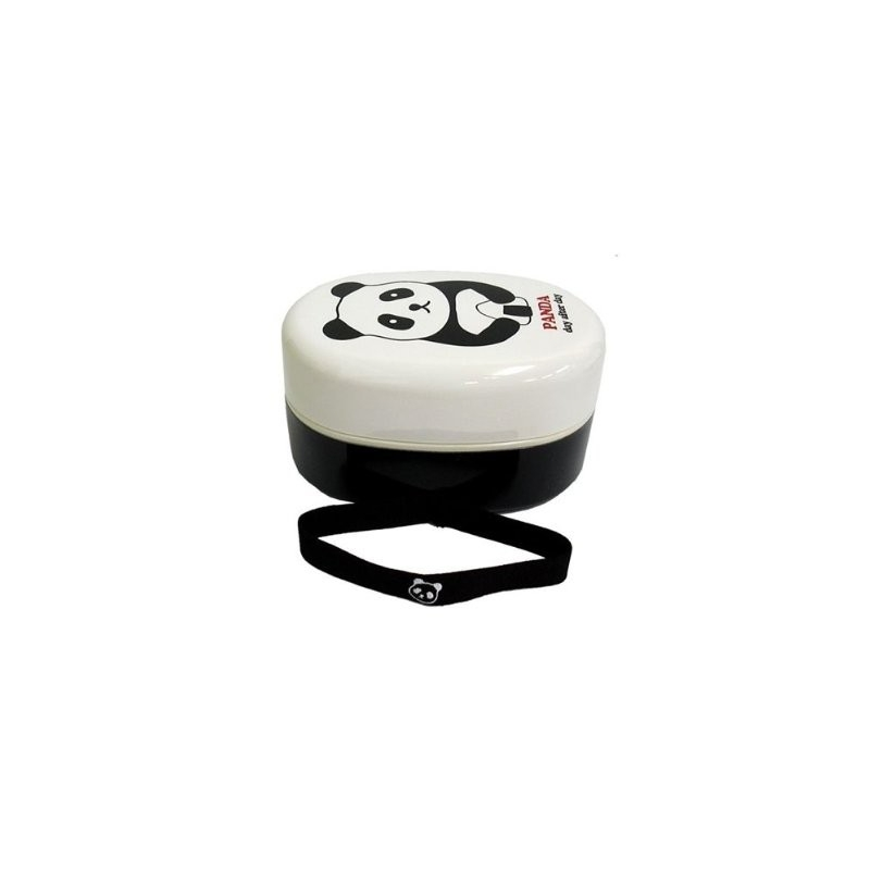 japanese bento box 2 tier oval lacquer lunch box with strap panda. Black Bedroom Furniture Sets. Home Design Ideas