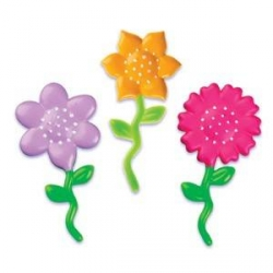 Food Decorating Pick Puffy Flower 3 Colors Assorted