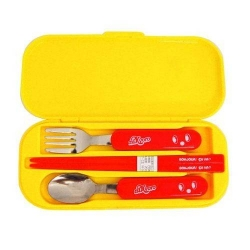Japanese Bento Fork Spoon Chopsticks and Case 4 in 1 - Nikkyoro Yellow