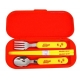 Japanese Bento Fork Spoon Chopsticks and Case 4 in 1 - Nikkyoro Red