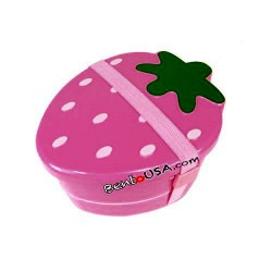 Japanese 2-tier Bento Lunch Box Strawberry Dark Pink