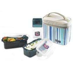 Microwavable Airtight Bento Lunch Box Set Blue Stripe with Bottle Medium