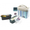 Microwavable Airtight Bento Lunch Box Set Blue Stripe with Bottle Medium
