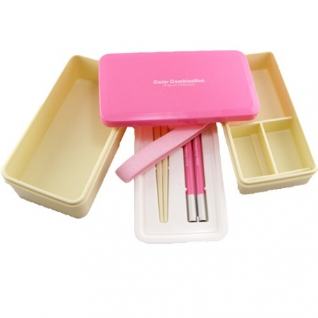 Japanese Bento Box 3 tier Lunch Box with Strap and Chop Pink