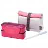 Microwavable 2 Tier Bento Lunch Box Set with Lunch Bag, Chopsticks - Mini Slim - Pink