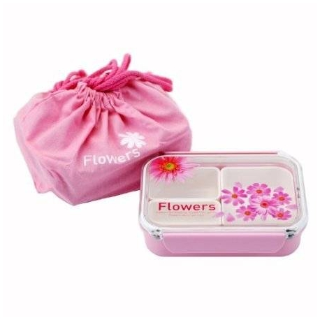 3 Sections Flat Food Storage Bento Lunch Box with Bag Small 650ml Pink
