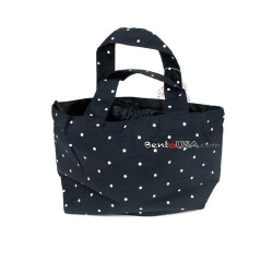 Soft Cloth Drawstring Bento Lunch Bag Pouch Polkadots Blue