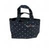 Soft Cloth Drawstring Bento Lunch Bag Pouch Polkadots Blue