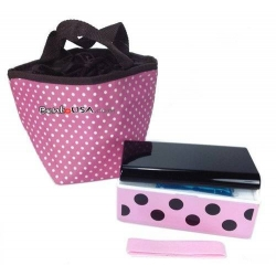 Lacquer Bento Box Polka Dot Pink with Cold Gel Pack and Insulated Bag