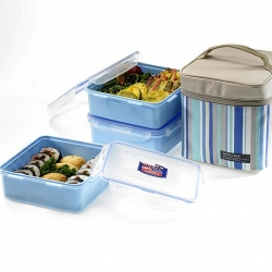 Lock & Lock Square Men Lunch Box 3-pcs Set with Insulated Bag