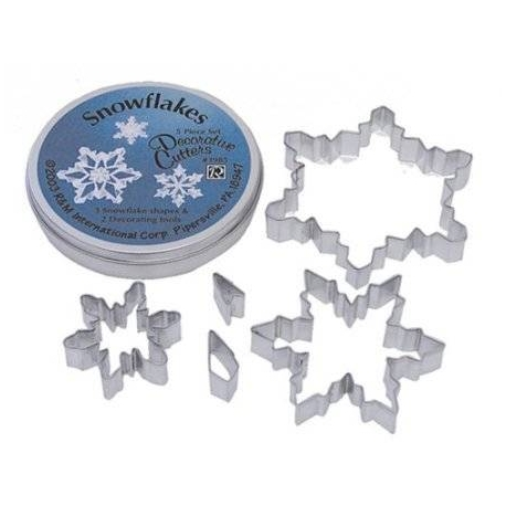 Bento Decorative Cheese Cookie Cutter with Case Snowflakes