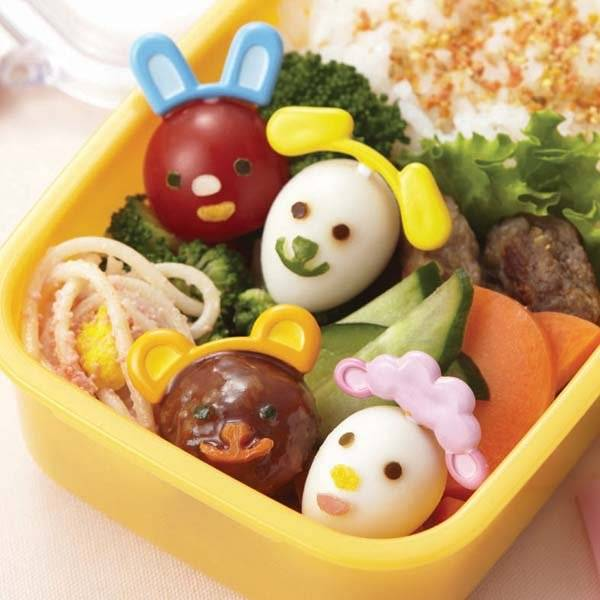 japanese bento deco animal face cutter and ears food pick set for