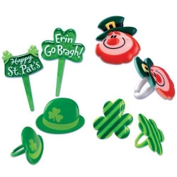 Food Decorating Pick Puffy Ring Leprechaun St Patrick Clover