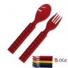 Building Block Japanese Cutlery Spoon and Fork set for Bento Red