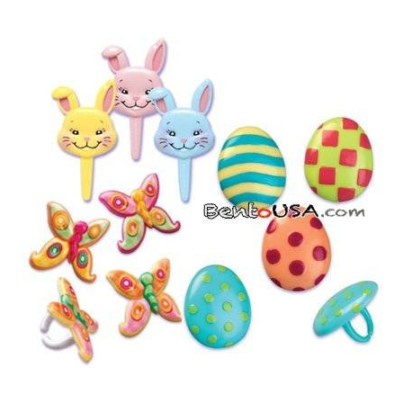 Food Decorating Pick Puffy Ring Bunny Egg Butterfly
