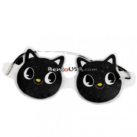 Cute Japanese Black Cat Hot and Cold Gel Bead Eye Mask
