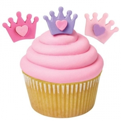 Edible Bento Decoration Make Cute Royal Icing Crown with Heart 12 pcs