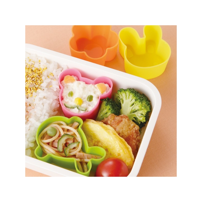 Microwavable Bento Silicone Food Cup 4 Animal for Food Cup