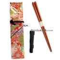 Polka Dot Chopsticks with Case and strap Orange