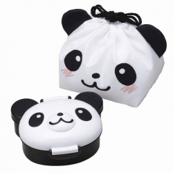 Japanese Bento Lunch Box with Bag Die Cut Panda Face