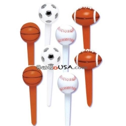 Food Decorating Pick Puffy 3D Sports Balls great for boys