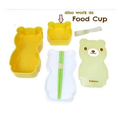 japanese bento lunch box set bear with chopsticks ebay. Black Bedroom Furniture Sets. Home Design Ideas