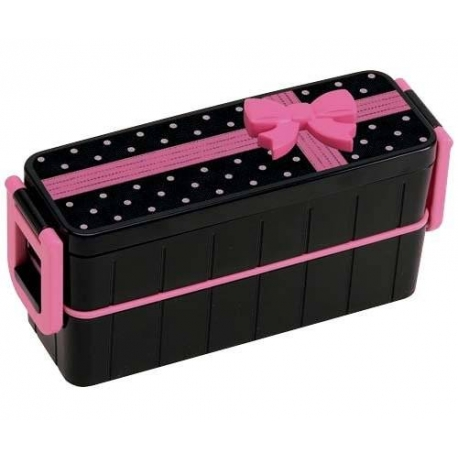 Japanese Bento Box Lunch Box Set Slim Black and Pink Bow