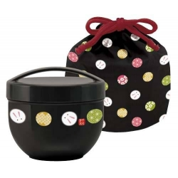 Round Lunch bowl Bento Box 2 tier Rabbit Black Set