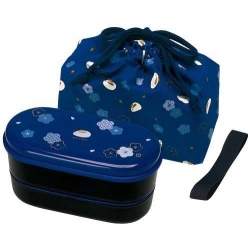 Japanese Bento Lunch Box Designer Set Slim Blue Rabbit