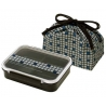 3 Sections Flat Food Storage Bento Lunch Box with Bag Black