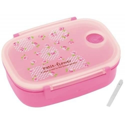 3 Sections Vacuum Airtight Bento Lunch Box 600ml Pink Rose
