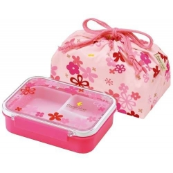 3 Sections Flat Food Storage Bento Lunch Box with Bag Small 550ml Pink Flower