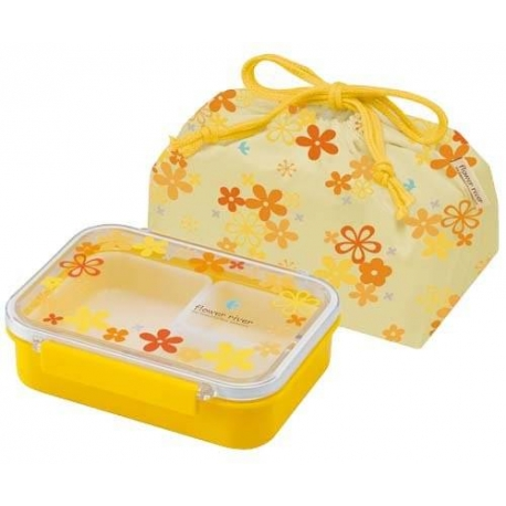 3 Sections Flat Food Storage Bento Lunch Box with Bag Small 550ml Yellow Flower