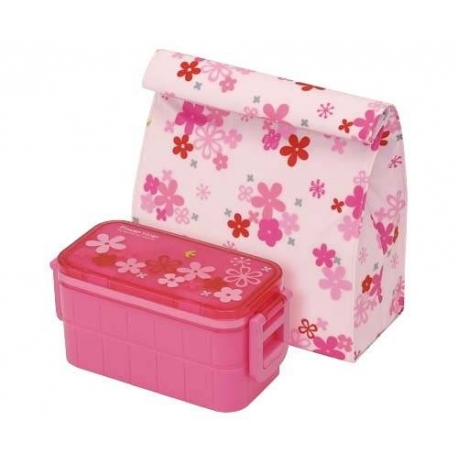 insulated bag ice pack 2 tier bento lunch box flower set. Black Bedroom Furniture Sets. Home Design Ideas