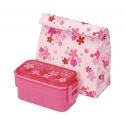 Bento Lunch Box Designer Red Flower 2 Tier Set
